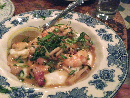 Shrimp & Grits, Mushrooms, Bacon and Scallions