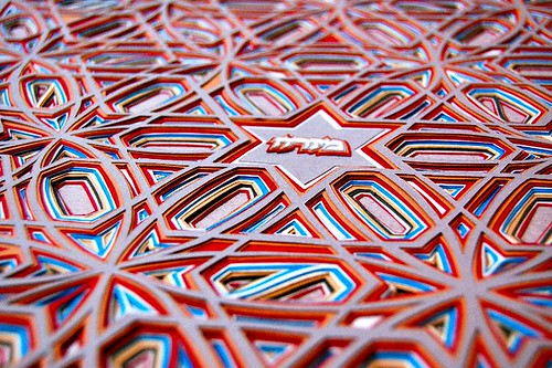 multi-layered and multi-color geometric paper cutting