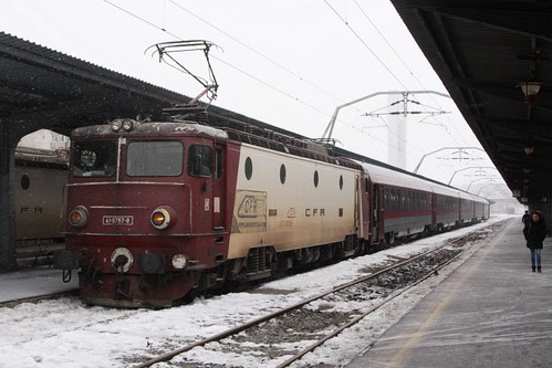 CFR Class 41 electric locomotive 41-0767-8 with a very modern looking carriage set