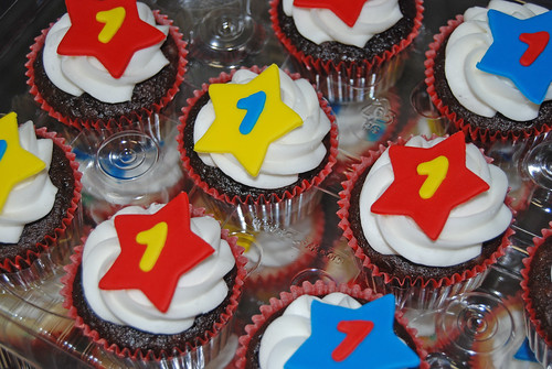 1st birthday cupcakes for a Mickey Mouse themed celebration