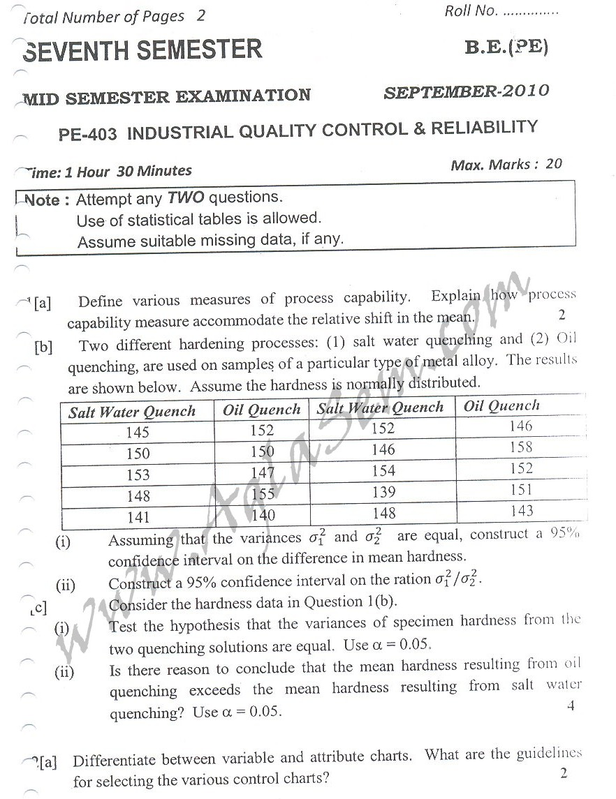 DTU Question Papers 2010 – 7 Semester - Mid Sem -  PE-403