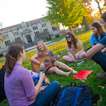 Fun on the Quad -- Students hang out on the quad in front of Buck Memorial Library.