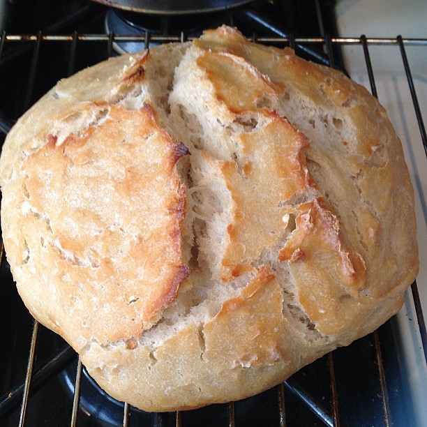 #kvptgif No-knead bread. Not bad! Still a little dense. #kvpinmybelly #baking #bread #foodspotting