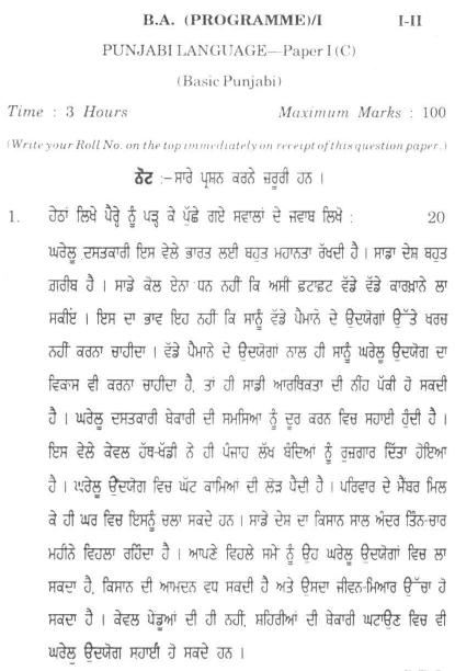 DU SOL B.A. Programme Question Paper -  Punjabi C Language -  PaperII