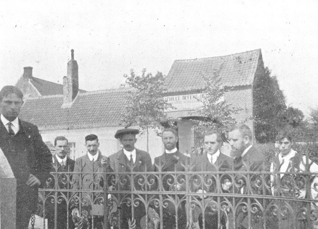 By the Celtic Memorial Cross at Fontenoy, 1910, 'we had leaflets in French, Irish & English, describing the game'.