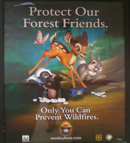 Bambi Disney prevent forest fires poster