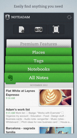 Notes Screen in the Evernote App