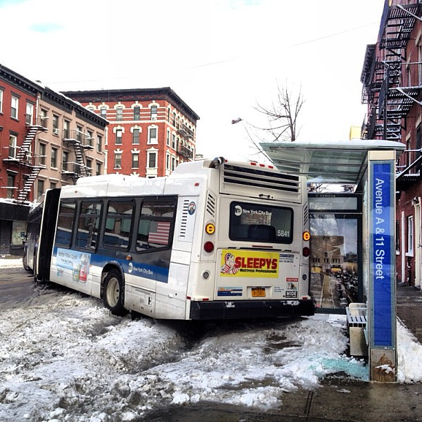 Bus crashed into a bus stop at Ave A and 11th St NYC Nemo