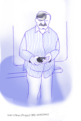 """Mr Thin Blue Stripe Shirt"" (#45: Project 365 Sketches)"