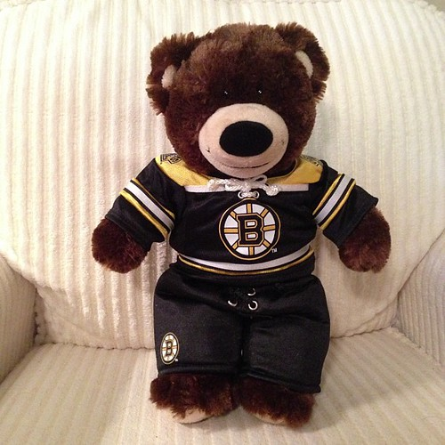 45:365 Hubby is still in CT but he sent Meg & I Build-A-Bear stuff for Valentine's Day. My bear got a @nhlbruins uniform.