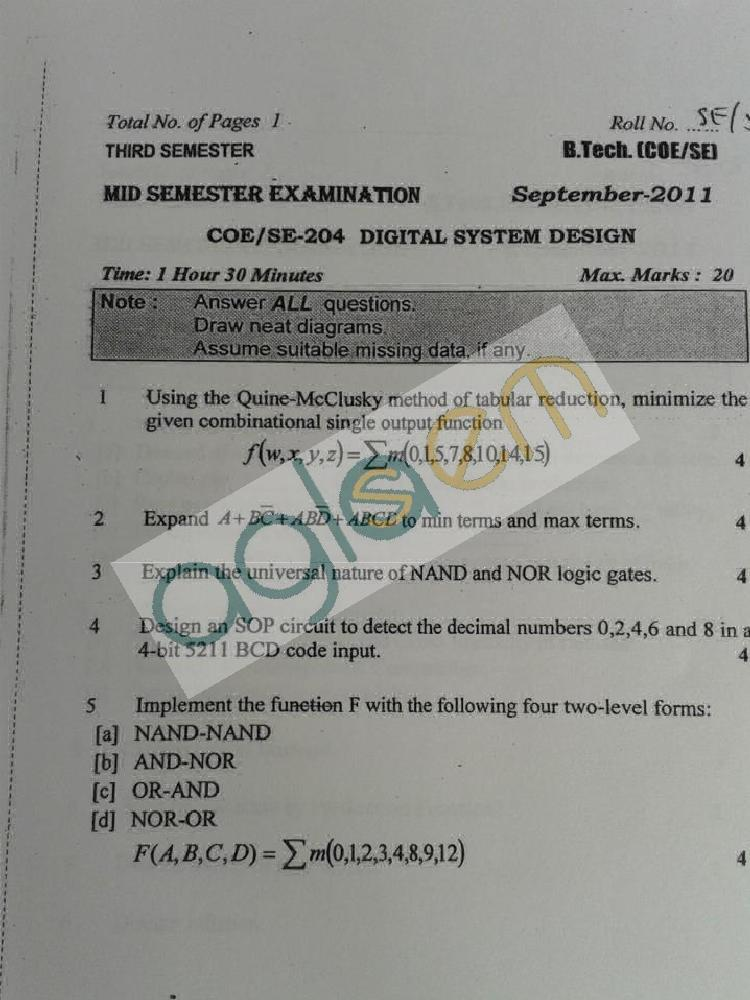 DTU Question Papers 2011 - 3 Semester - Mid Sem - COE-SE-204