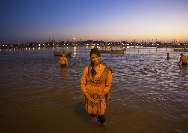 Pilgrims Bathing In Ganges, Maha Kumbh Mela, Allahabad ...