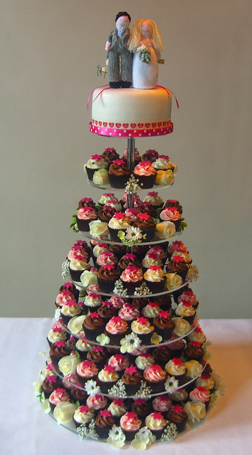 mini wedding cake towers pink mini wedding cupcake tower with top cake flickr 17437