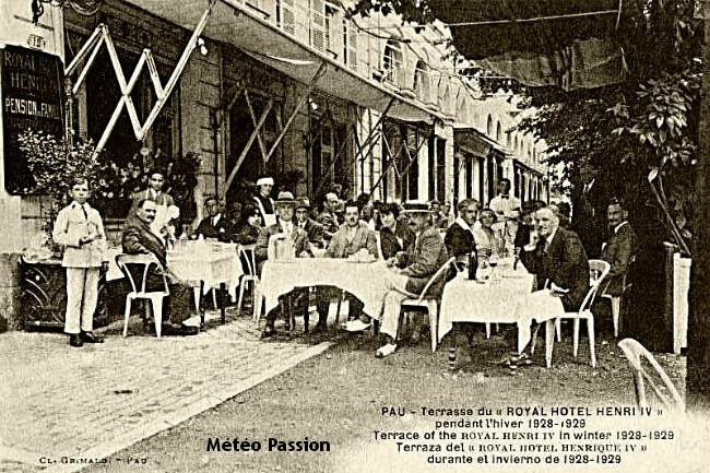douceur sur la terrasse d'un hôtel de Pau fin février 1929 météopassion