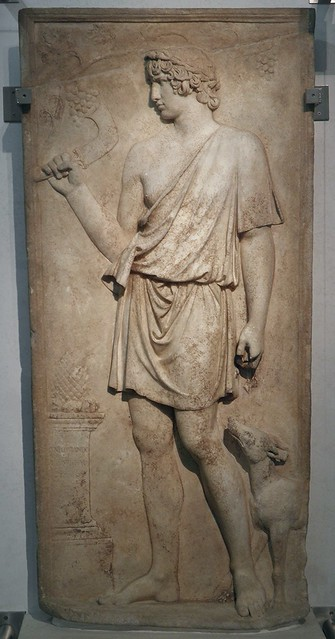 Antinous as Silvanus (god of woods and fields) harvesting grapes, marble relief, 130–138 AD, from Torre del Padiglione, Palazzo Massimo alle Terme, Rome