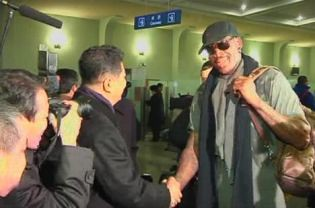 Championship basketball player Dennis Rodman arriving in the Democratic People's Republic of Korea (DPRK). The United States government has failed to comment on the visit of Rodman with the Harlem Globetrotters. by Pan-African News Wire File Photos