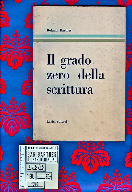 Roland Barthes, Il grade zero della scrittura. Lerici editori 1960. Copertina. [grafica di Ilio Negri?]
