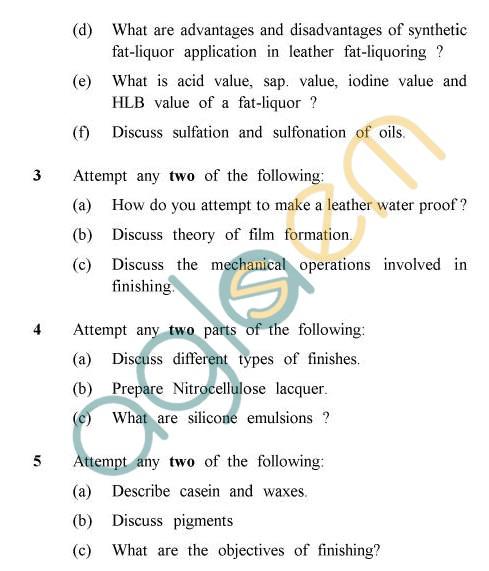 UPTU: B.Tech Question Papers -TLT-602 - Post Tanning & Finishing Operations