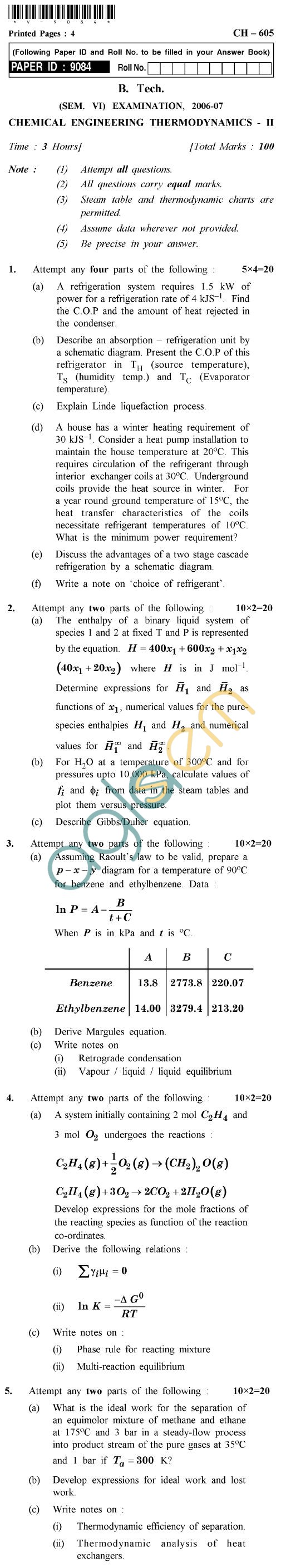 UPTU B.Tech Question Papers - CH-605 - Chemical Engineering Thermodynamics-II