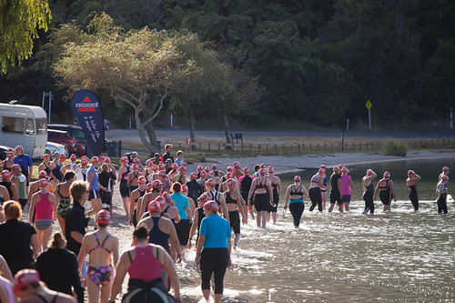 Heading down to the swim start