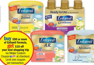 image regarding Enfamil Printable Coupons $10 titled $10 OYNO wyb $50 inside of Enfamil at Meijer (and printable discount codes