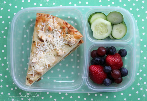 Leftover garlic chicken pizza, berries & cucumber school lunch