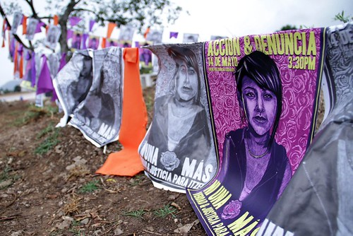 posters for a protest against femicide in Chiapas