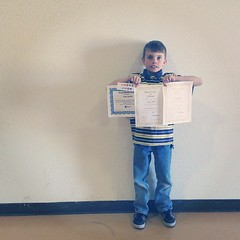 So proud of my boy. Super Reader, honor roll, reading ribbon, and attendance awards today. <3