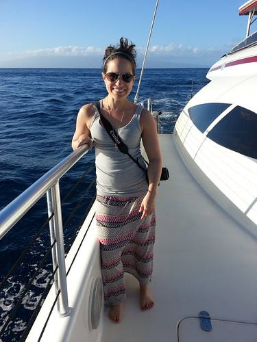 Maria on a boat