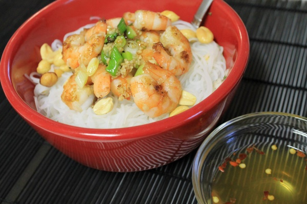Salt & Pepper Shrimp Rice Noodle Bowl