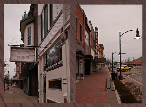 brick sign yellow retail truck diptych indiana sidewalk lamppost storefront greensburg smalltown bikerack courthousesquare d80