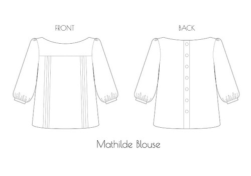 Mathilde blouse line art