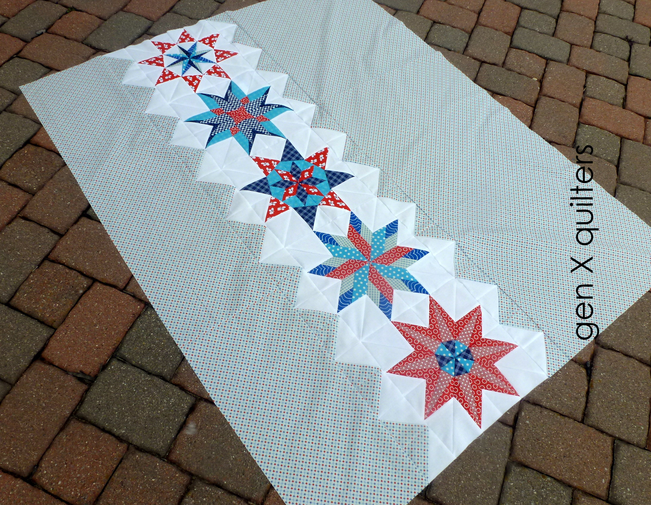 red navy teal quilt top