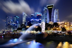 [Free Images] Architecture, City / Town, Large Buildings, Night View, Merlion, Landscape - Singapore, Designed Object ID:201304021600