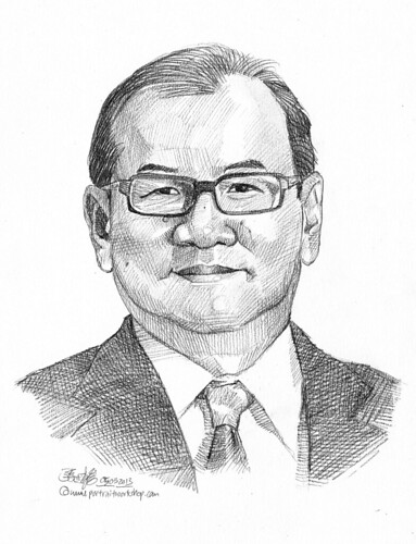 Pencil portrait for Chinese Swimming Club Lee Chiwi - 9