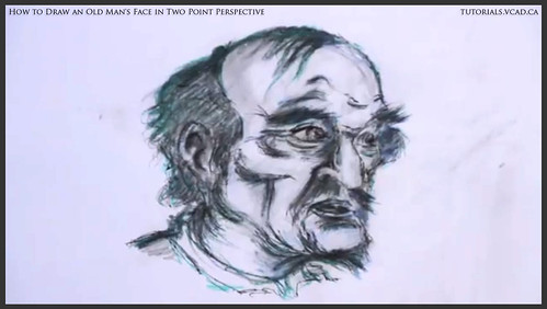 learn how to draw an old man's face in two point perspective 047