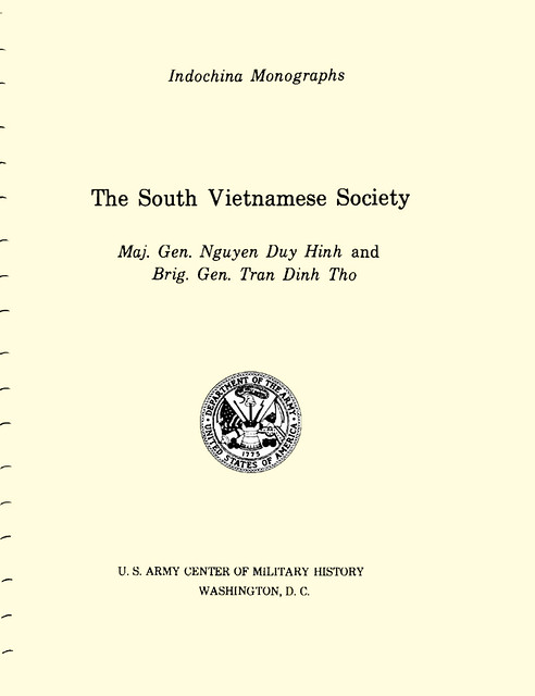 The South Vietnamese Society - by Maj. Gen. Nguyen Duy Hinh and Brig. Gen. Tran Dinh Tho (1980)