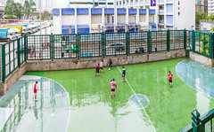 """雨天不是讀書天 Rainy day is not for studying"" / 香港公共屋邨足球康樂全景 Hong Kong Public Housing Football (Soccer) Recreation Facilities Panorama / SML.20130331.7D.37218-SML.20130331.7D.37226-Pano.Panini.114x82"