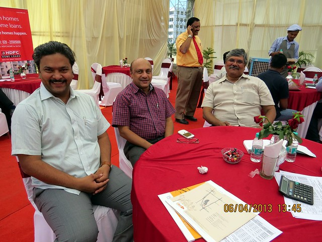 Launch of Om Praangan, 1 BHK & 2 BHK Flats at Ambegaon Khurd, Pune 411046 -  Mr. Devendra Awati,  Mr. Shrikant Nagarkar, Mr. Atul Mahashabde, Directors, Om Developers