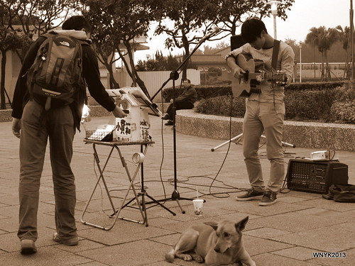 Busker and Dog