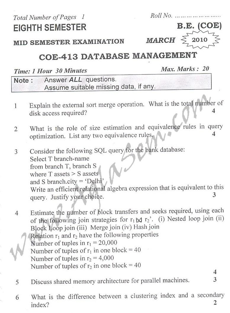 DTU Question Papers 2010 – 8 Semester - Mid Sem - COE-413