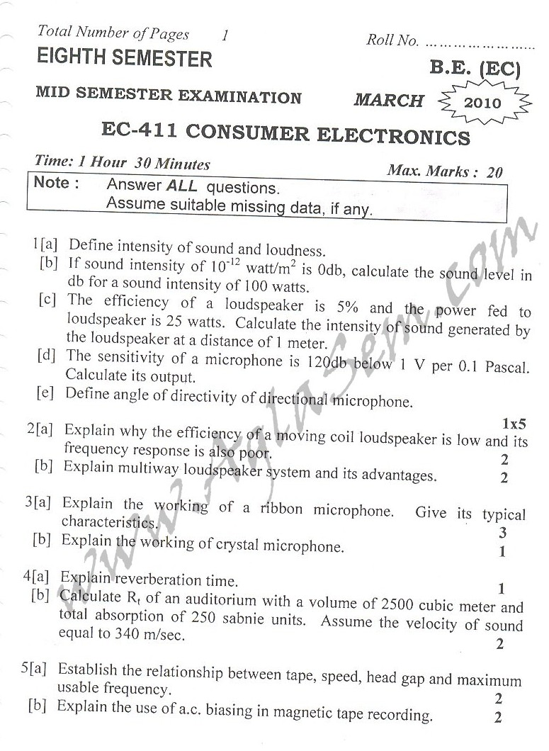 DTU Question Papers 2010 – 8 Semester - Mid Sem - EC-411