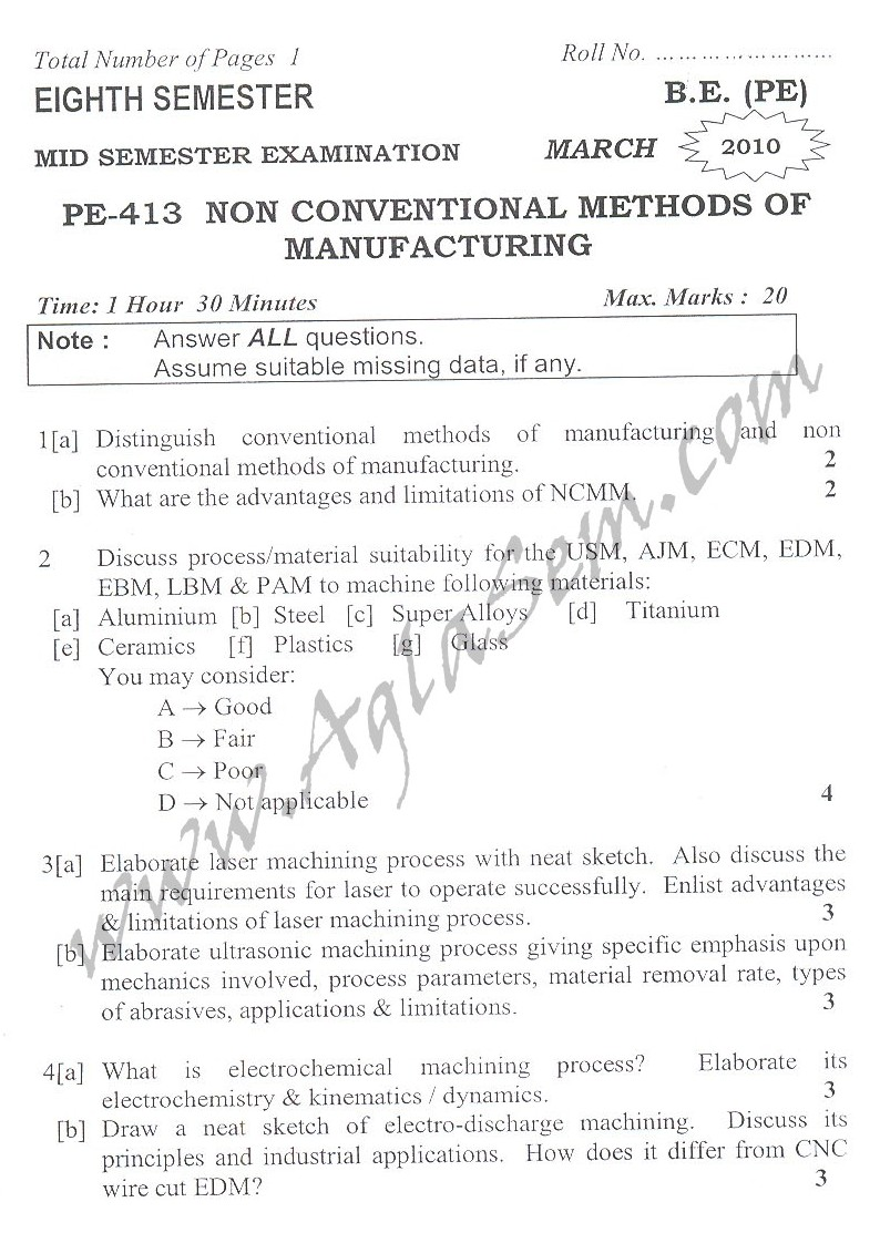 DTU Question Papers 2010 – 8 Semester - Mid Sem - PE-413