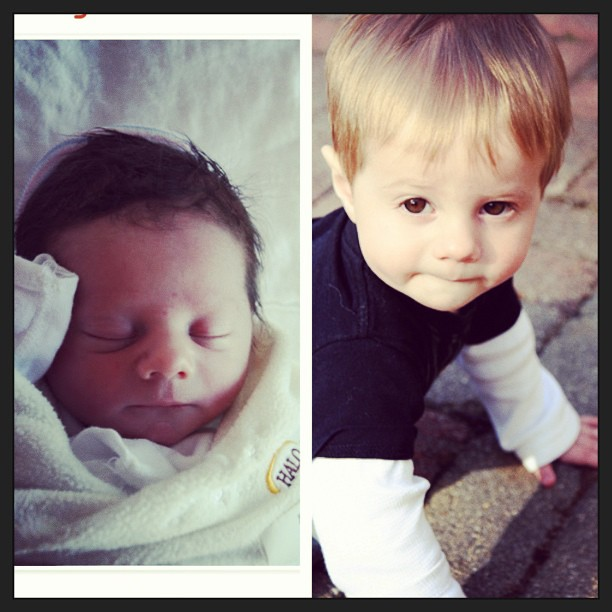 Throwback Thurs: the dude in April 2011, and 2012. He's going to be 2 on Sat!  #picstitch #two #birthday #tbt #throwbackthurs