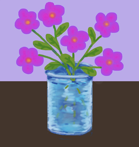 Pink Flowers in Blue Vase (Digital Pastel Day 2) by randubnick
