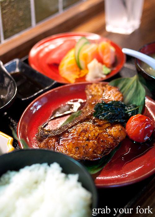 teriyaki salmon at yebisu izakaya, regent place sydney
