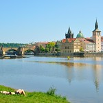 Prague : From Střelecký  island / Sunbathing on the grass