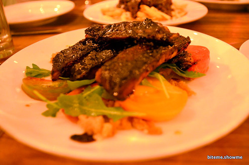 Animal - Balsamic Pork Ribs, heirloom tomato panzanella