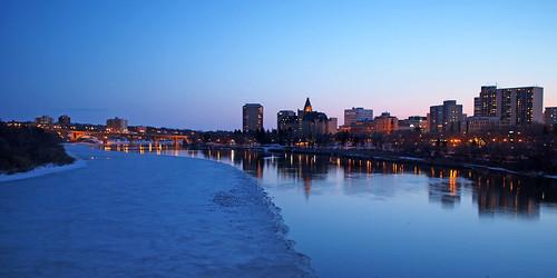 blue ice night river cityscape seagull olympus clear saskatoon bluehour saskatchewan southsaskatchewanriver omd em5