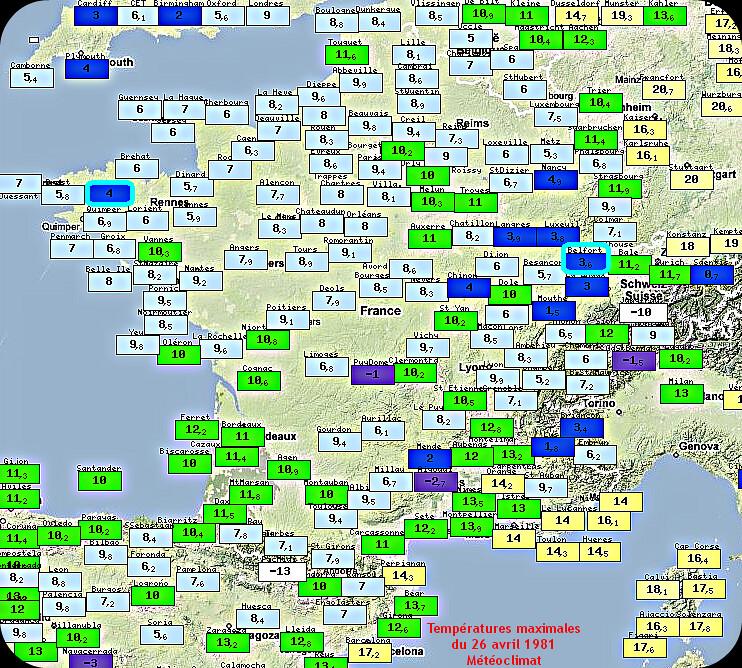 températures maximales et fraîcheur du 26 avril 1981 météopassion